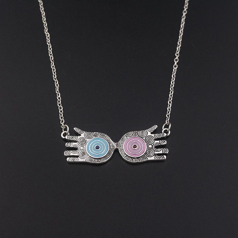 SG Fashion Movie Antique Silver Hogwarts Magic School Luna Lovegood Glass Necklaces Pendants For Lover Men Women Gift Jewelry