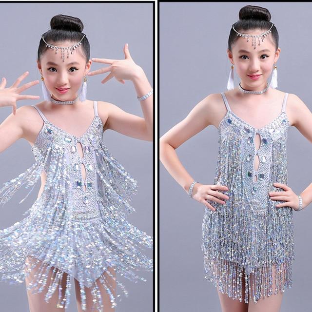 4c309b539718 Sequin tassel diamond latin dance dress for girl salsa kids spandex fringe  children ballroom dresses samba tango cha cha costume