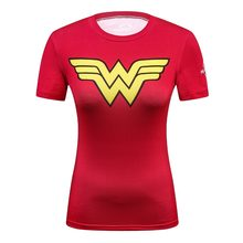 Damen DC Comics Marvel Batman/Wunder frauen Fitness T-shirt Mädchen Bodybuilding Kompression Strumpfhosen Tees Tops(China)