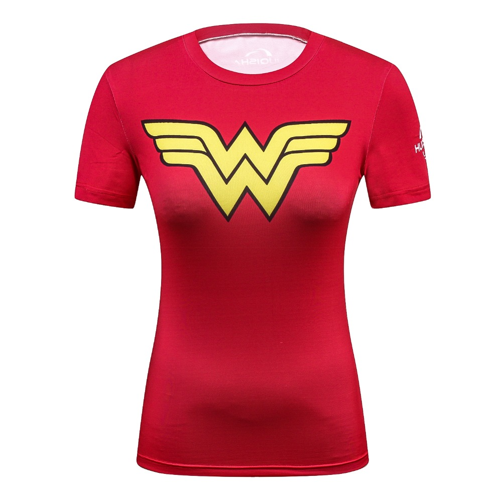Ladies DC Comics Marvel Superman Batman/ Wonder Women's Fitness   T     Shirt   Girls Bodybuilding Compression Tights Tees Tops