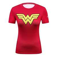 Ladies DC Comics Marvel Superman Batman/ Wonder Women's Fitness T Shirt Girls Bodybuilding Compression Tights Tees Tops