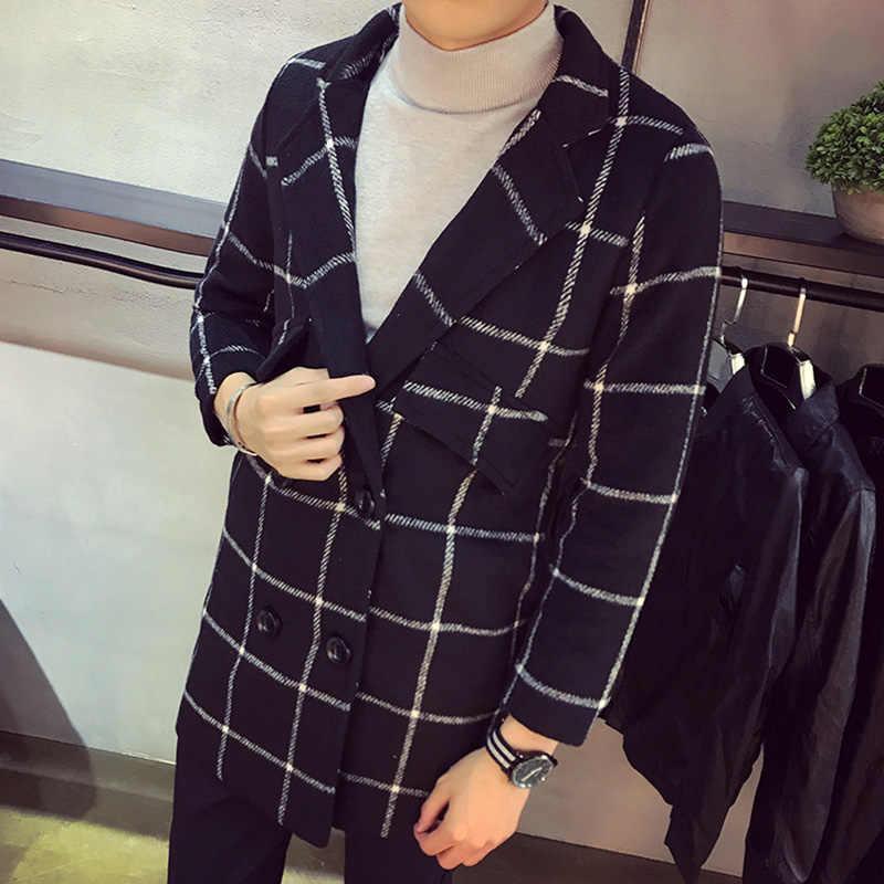 2019 男性の秋と冬の韓国チェック柄プリントロングセクショントレンチコート/スリムファッション都市ブティックブレンドコート