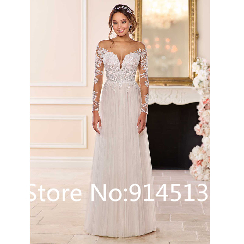 Image 2 - Wedding Dress With Long Sleeves 2019 Vestido de noiva Vintage Lace Top Tulle Skirt Button Bridal Dresses Sweep Train-in Wedding Dresses from Weddings & Events