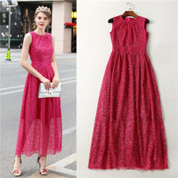 American Apparel Top Quality Sleevelees Tank Dress For Women Elegant Full Sequins Long Maxi Dresses Party