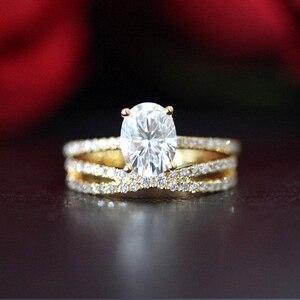 14K желтое золото набор колец 2ct карат овальные бриллиантовые огранки Moissanite обручальное кольцо & обручальное кольцо для женщин