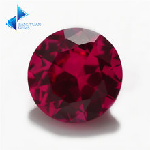 Размер 5 # красный 3 мм ~ 12 круглый синтетический Рубин с бриллиантовой