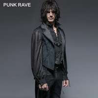 PUNK RAVE Gothic Blue Tuxode Men Gorgeous Long Vest Tank Swallow Tail Sleeveless Velveteen Tops Tees Jacquard Outwear Clothing