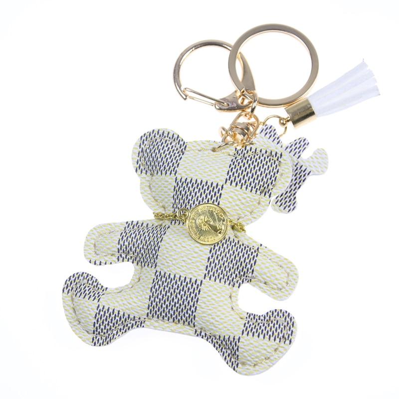 New fashion!Key Chain Accessories Tassel Key Ring PU Leather Bear Pattern Car Keychain Jewelry Bag Charm tassel charm grab bag 3pcs
