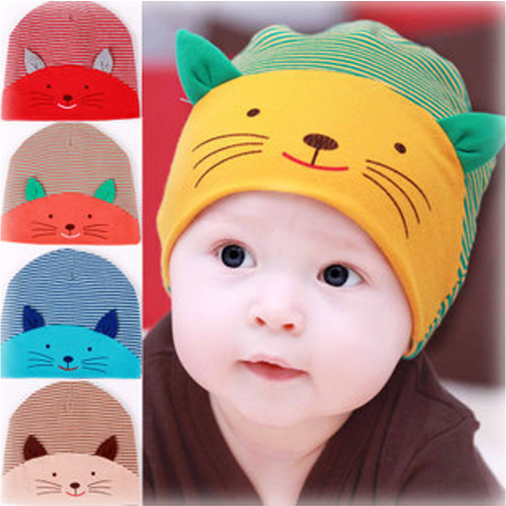Cute Kawaii Print Cat Hats Beanies For Toddler Baby Girl Boys Soft Striped Cotton Winter Ear Warmer Caps Accessory 2016 winter new soft bottom solid color baby shoes for little boys and girls plus velvet warm baby toddler shoes free shipping