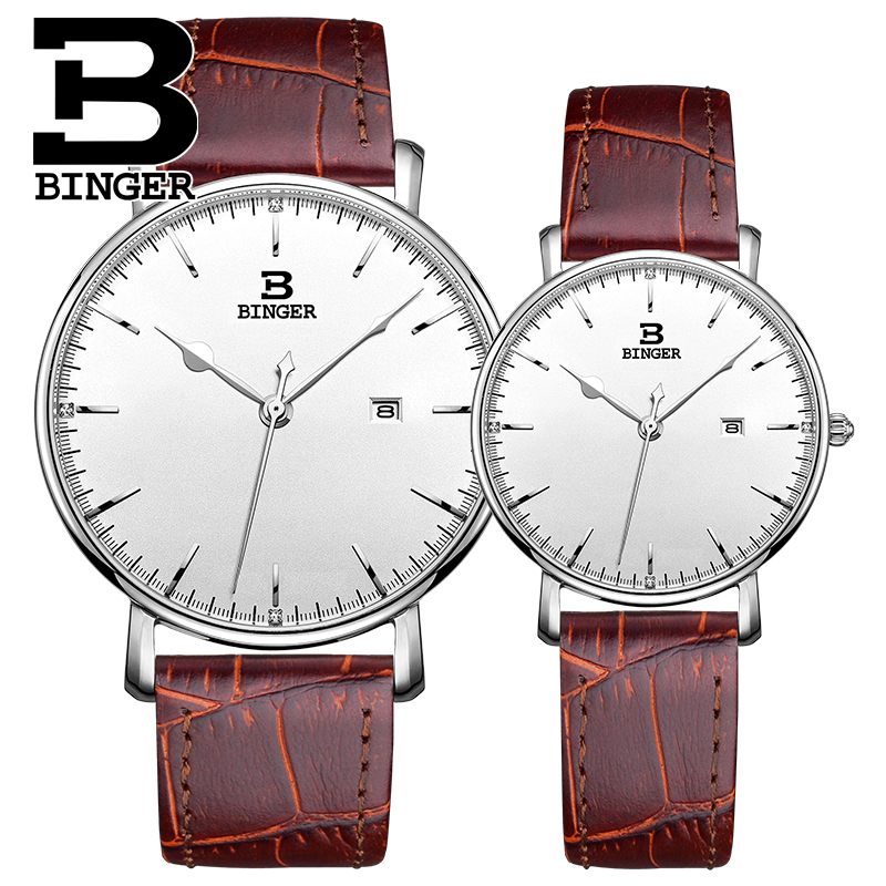 2016 Binger Brand Waterproof Couples Watches Women Japan Movement Analog Quartz Watch leather Strap Men Watches lovers Clock