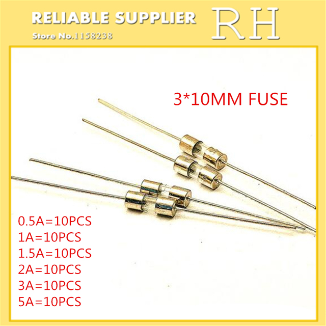 60PCS/lot  fuse  3*10MM  0.5A 1A 1.5A 2A 3A 5A  With pin fuse  Each 10pcs