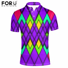 FORUDESIGNS  Shirt Mens Clothing 2018 New Arrivals Fashion Short Sleeve Stand Collar Tops Tees Male Spell Color 3D Printing