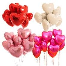 5pcs 18 Love Heart Aluminium Foil Ballon Helium Balloons Happy Wedding Birthday New Year Party Decoration DROP SHIPPING OK