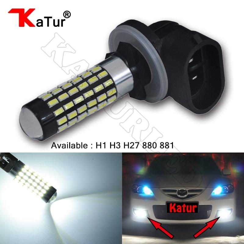 все цены на 1pcs H1 H3 H27 880 881 Led Bulb For Cars Lens LED Bulbs Car Driving Daytime Running Lights Xenon White 6000K 12V 24V H27W H27W/2