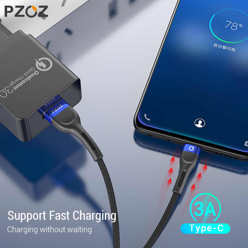 PZOZสายUSB CประเภทCสายเคเบิลชาร์จข้อมูลสายไฟสายUSB CสำหรับSamsung S10 S9 A51 xiaomi Mi 10 redmiหมายเหตุ 9S 8T