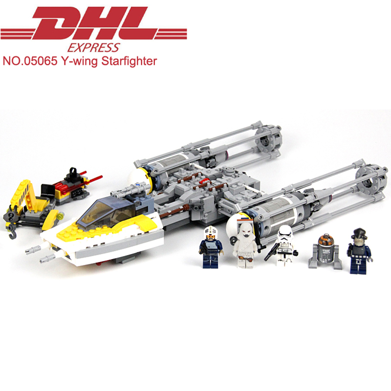 ФОТО 691Pcs Lepin Star Wars Figures Y-wing Starfighter Model Building Kits Blocks Bricks Toys For Children Gift Compatible With 75172