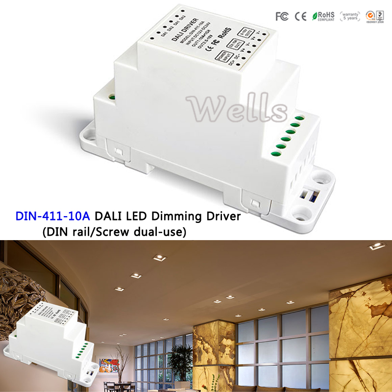 DIN-411-10A DALI LED Dimming Driver(DIN rail/Screw dual-use);DALI Dimming Signal DC12-24V 10A*1CH output for led lamp din 411 12a dali to pwm cv dimming driver din rail screw dual use dc12 24v input 12a 1ch 0 10v 1ch output