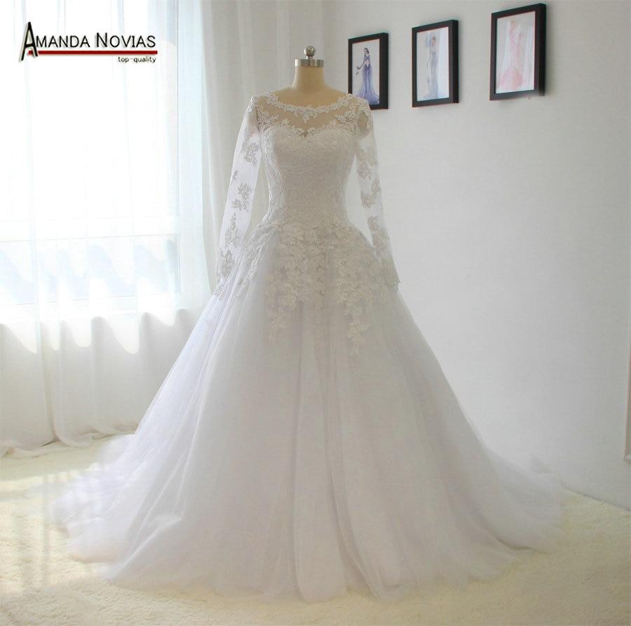 Amanda Novias Newest Lace Appliques See Through Nack Wedding Dresses With Three Quarter Sleeve