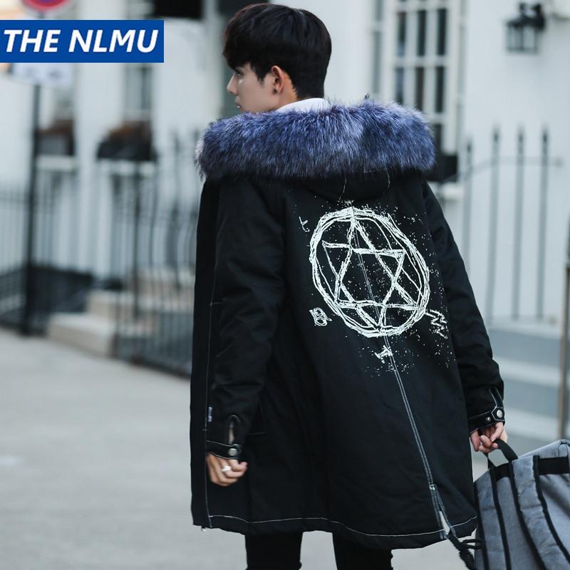 2018 Hip Hop Winter Jacket Men Hooded Fur Collar Coats   Parkas   Streetwear Thick Medium-Long Windbreaker Coats Men Clothing Q0302