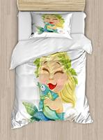 Zodiac Pisces Duvet,Laughing Blonde Baby Mermaid with a Wreath Holding , Decorative 3 Piece Bedding Set