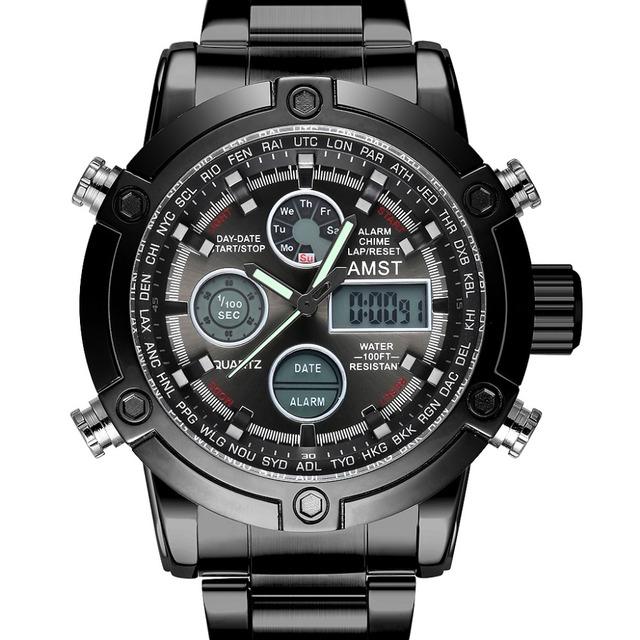 Hombres reloj marca amst pantalla dual masculina reloj reloj deportivo cronógrafo militar negro moda casual impermeable mejor que 3003
