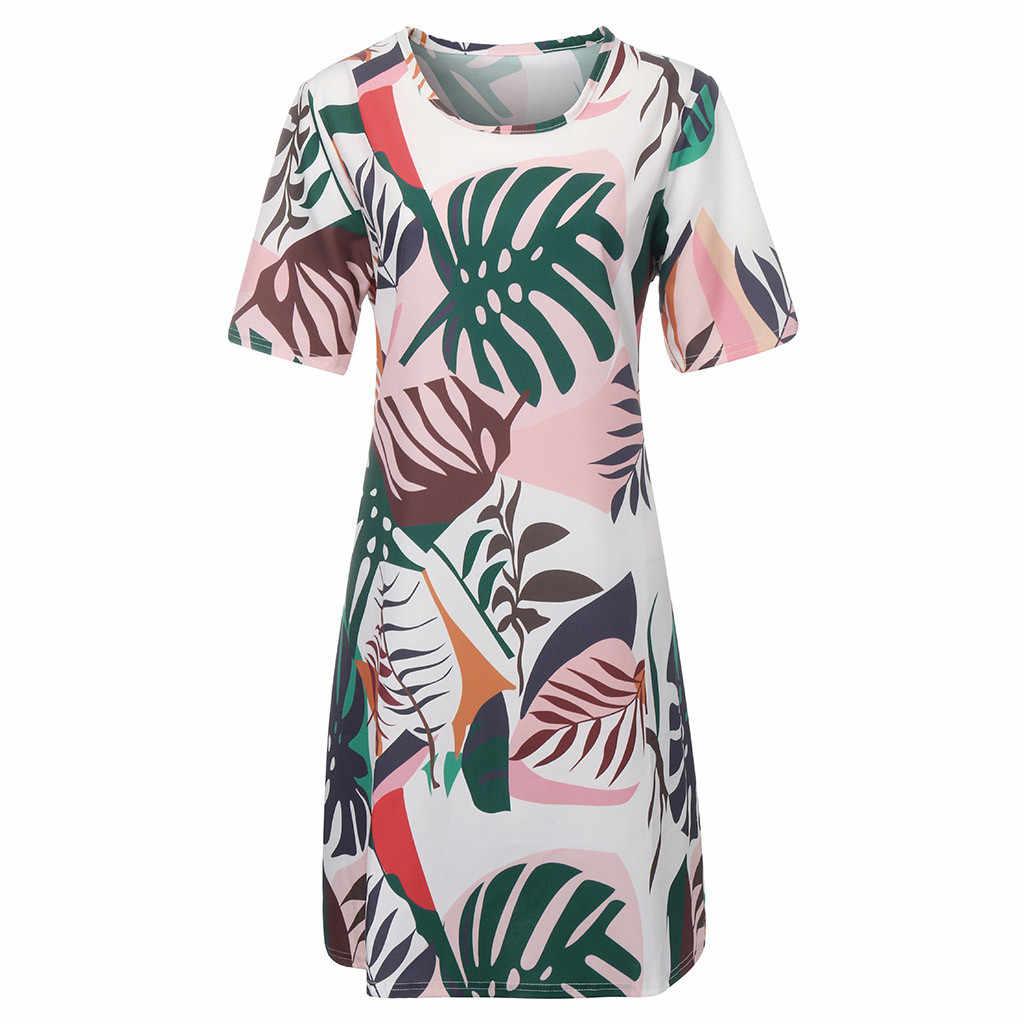 Jaycosin clothes dress Fashion Women Sexy Plus Size Leaves Print Short Sleeve O-Neck Loose mini Bohemian 5xl Dress