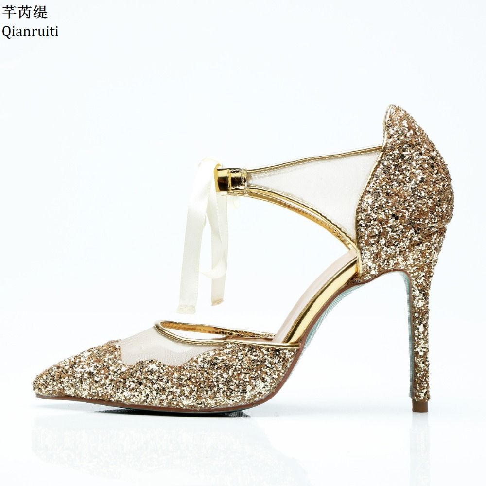 Qianruiti Gold Glitter Leather Lace-Up Women Pumps Ankle Strap High Heels Shoes Sexy Pointed Toe Stiletto Heels Ladies Shoes daidiesha pu leather high heels shoes women pointed toe glitter pumps elegant party wedding lady block heels ankle strap shoes