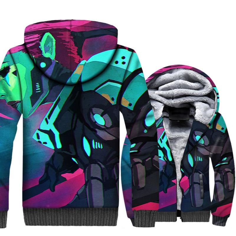 Batman Villains Joker Jacket Super Hero Hoodie Men Arkham Sweatshirt Winter Thick Fleece Warm Zipper Coat 3D Print Streetwear