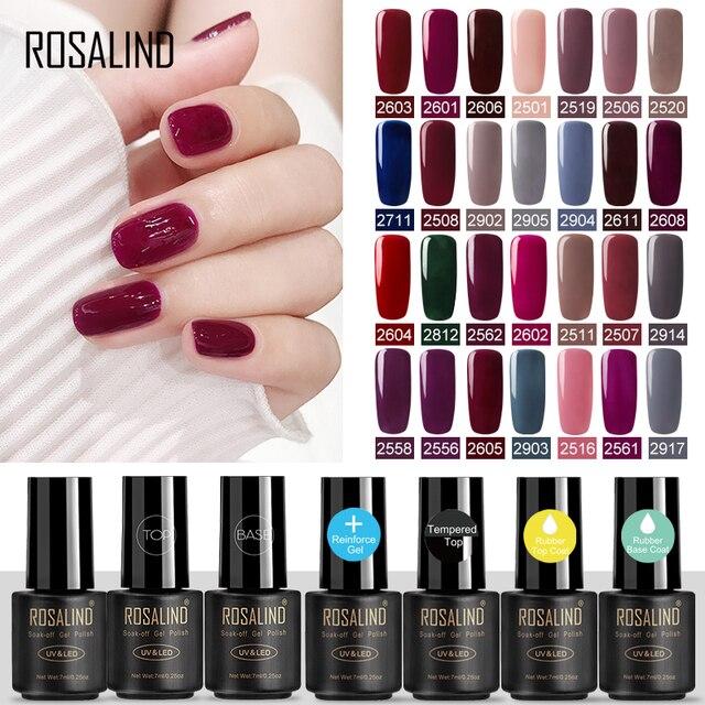 ROSALIND Gel Nail polish Nails Gel Primer Semi Permanent Top Coat UV 7ML Colors All for manicure Hybrid Nail Art Gel Polish