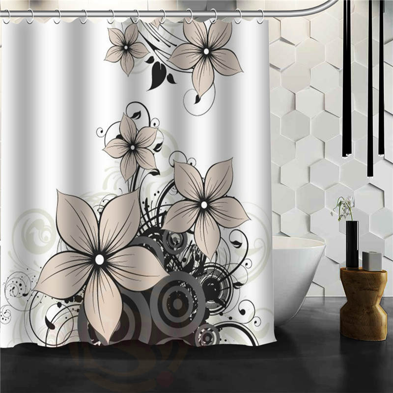 custom flower pattern shower curtain bath novelty polyester fabric waterproof curtain hooks in. Black Bedroom Furniture Sets. Home Design Ideas