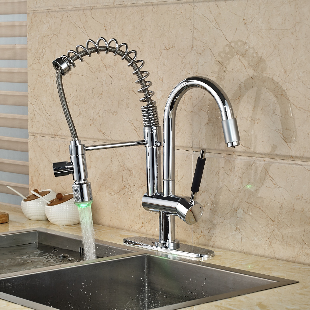 LED Chrome Kitchen Faucet Spring Swivel Spout Spring Vessel Sink Mixer + Plate good quality wholesale and retail chrome finished pull out spring kitchen faucet swivel spout vessel sink mixer tap lk 9907