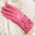 Genuine Leather Women Gloves Wrist Three Flower Women's Sheepskin Gloves Autumn And Winter Plus Velvet Thermal Driving Glove