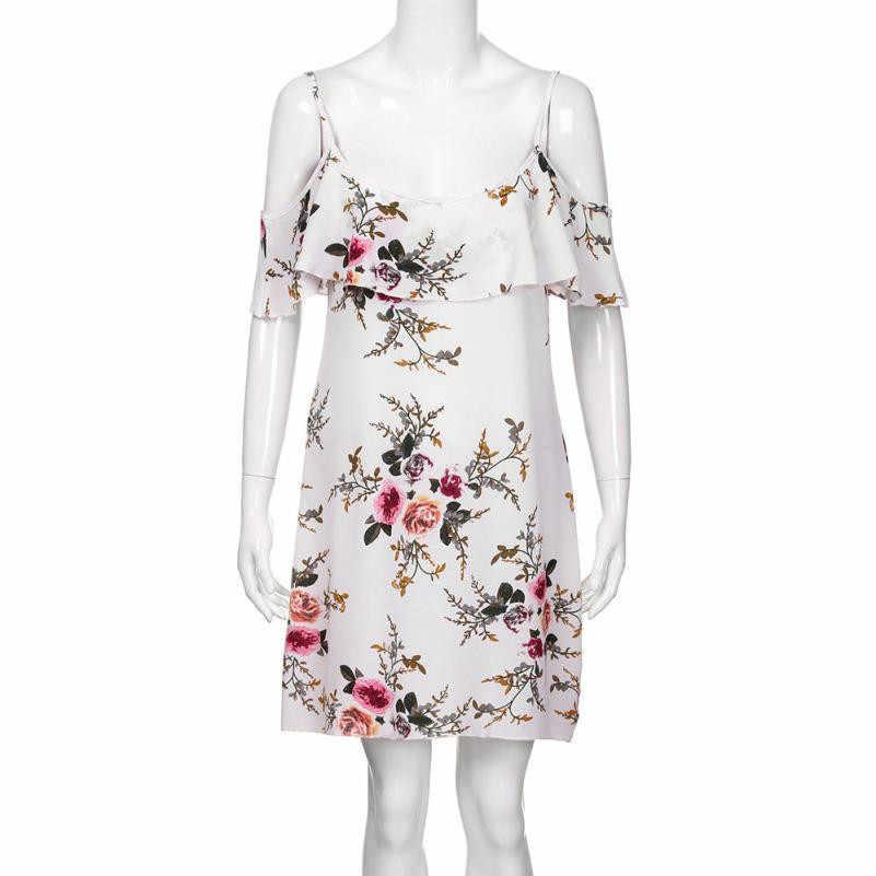 2d8e8cfb74fef Ruffle Off Shoulder Chiffon Floral Dress Loose Above Knee Mini Dress  Strapped Bandage Short Beach Sundress Straight Dresses#21