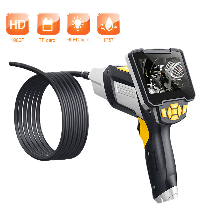 Digital Industrial Endoscope 4.3 inch LCD Borescope Videoscope with CMOS Sensor Semi Rigid Inspection Camera Handheld Endoscope-in Surveillance Cameras from Security & Protection    1