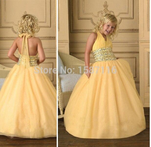 8270da85 2015 Yellow Girls vestidos del desfile para baratos una línea cabestro sin  mangas vestidos fiesta para las niñas 8 años 10 años por encargo en Vestidos  de ...