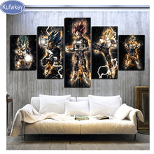 5 pçs/set DIY Diamante Pintura Dragon Ball Vegeta Anime ícone Bordado Mosaico de Imagens De Strass Completo Quadrado Diamante Redondo(China)
