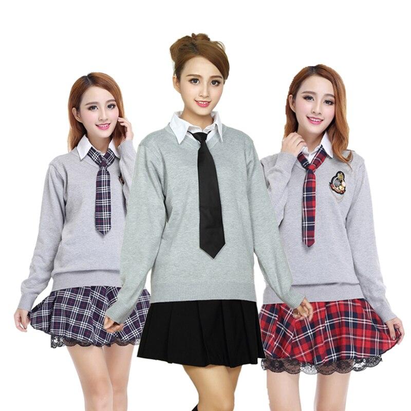 Косплэй костюм Японский Корейский девочек униформа комплект с толстовкой Британский дух колледжа студенты одежда Униформа Показать
