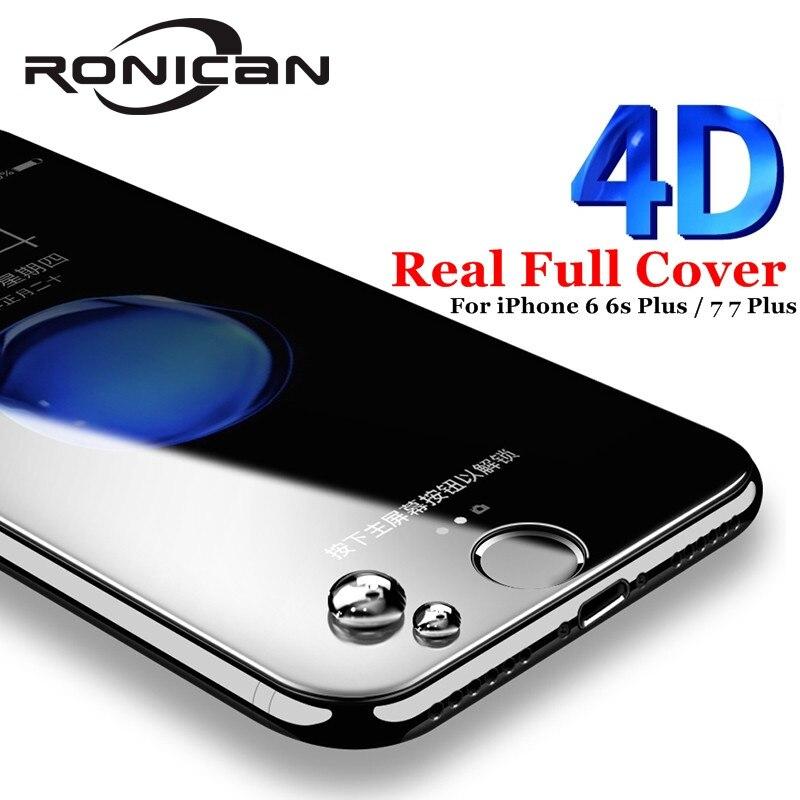43a6d729fc3 Ronican para iPhone 6 6s más 4d cubierta completa de vidrio templado para  iPhone 7 7 plus3d curvado borde protector de pantalla Películas para iPhone  X