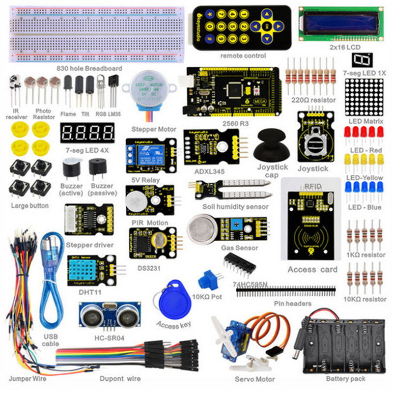Super Starter Kit/Learning Kit for Arduino Starter Kit With Mega2560R3/LCD1602/RFID/Relay/DS3231 +PDF+32Projets &STEM