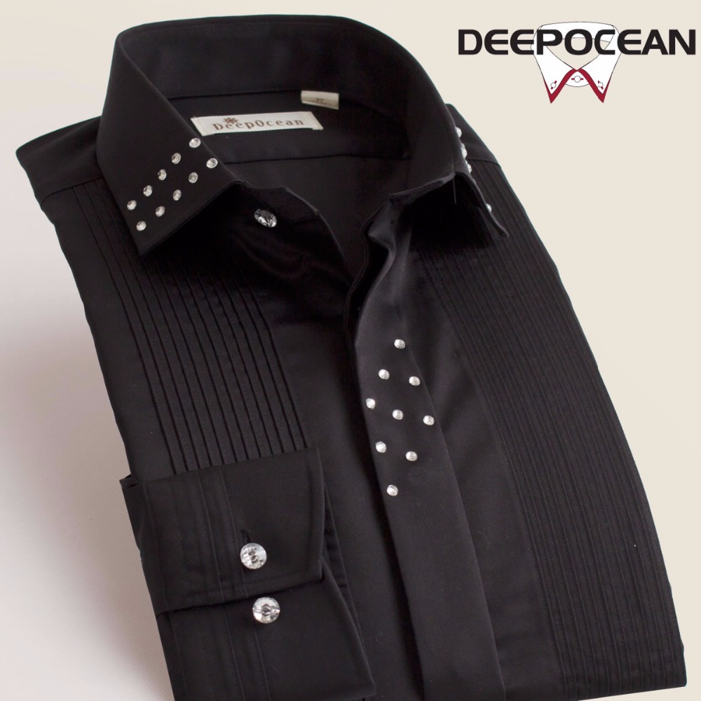 Image 3 - Deepocean Brand Men Shirts Solid Vintage Fashion Men Tops Long 