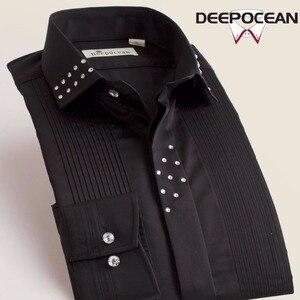 Image 3 - Deepocean, мужские однотонные рубашки, винтажные Модные мужские топы, Длинные облегающие рубашки, Новые повседневные хлопковые рубашки, Camisa Masculina X55545L