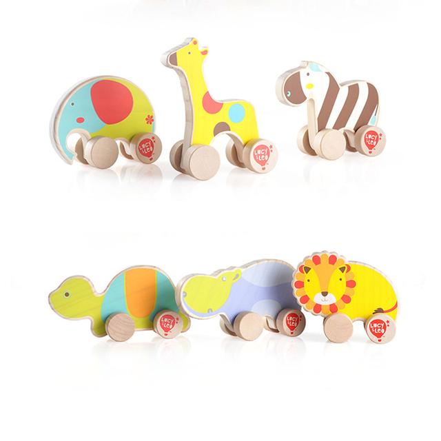 Lucy y Leo niños de madera tire volver juguetes de coches animales elefante jirafa cebra tortuga hipopótamo león del vehículo de motor juguetes