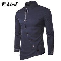 T Bird Men Shirt 2017 Spring Personality Oblique Button Irregular Men Casual Shirt Long Sleeve Casual