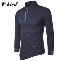 T Bird Men Shirt 2017 Spring Personality Oblique Button Irregular Men Casual Shirt Long Sleeve Casual