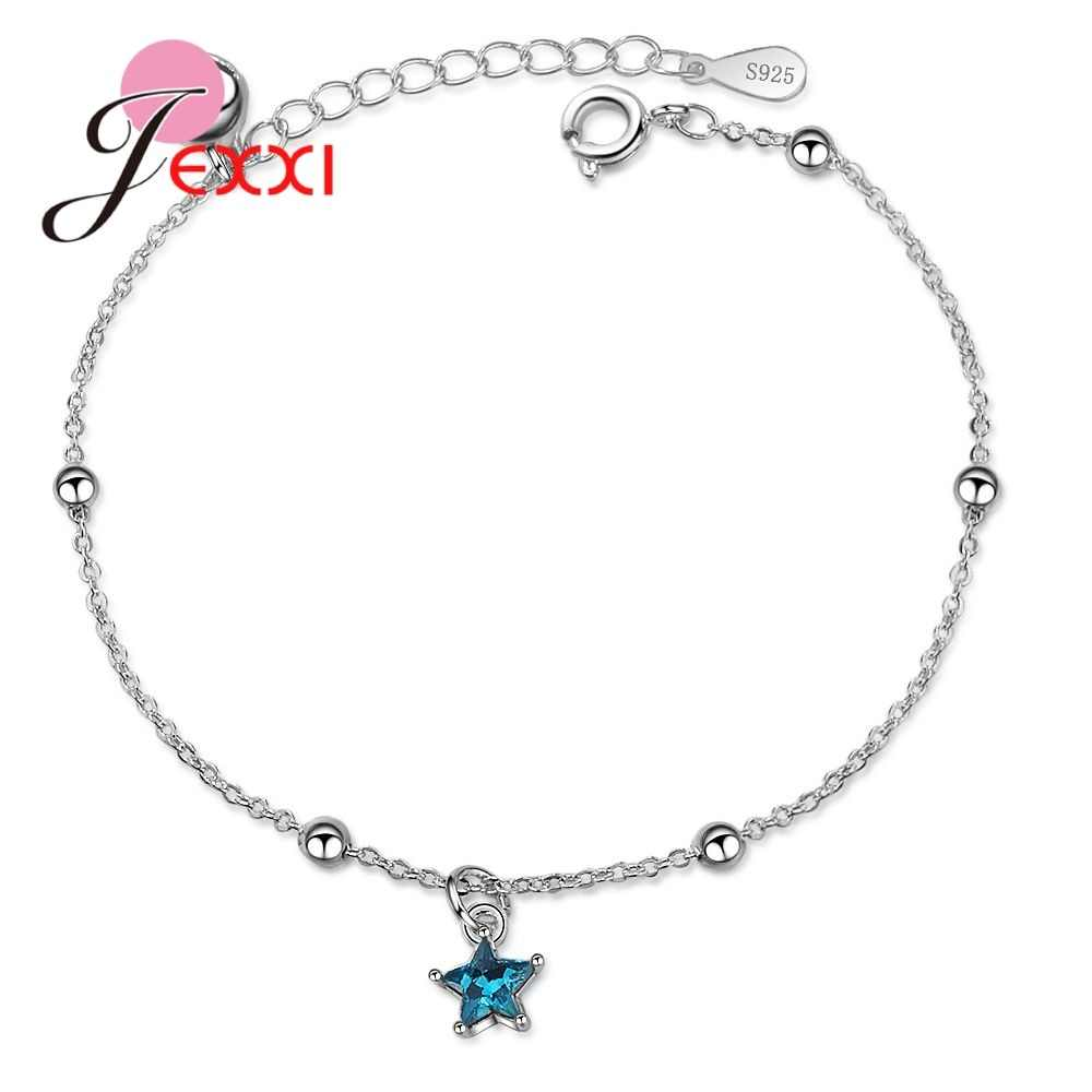 Genuine Brand Big Promotion 925 Sterling Silver Color Blue Cubic Zirconia Star Shape Pendant Bracelet For Women Girl Birthday