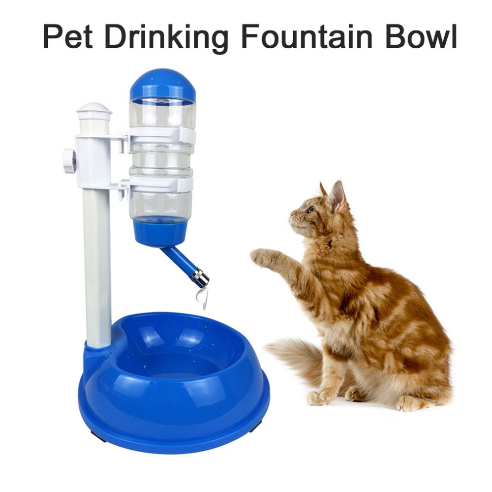 500ml Dog Food Bowl Automatic Water Dispenser Stand Feeder Bottle Plastic Dog Cat Drinking Fountain Food Dish Pet Supplies