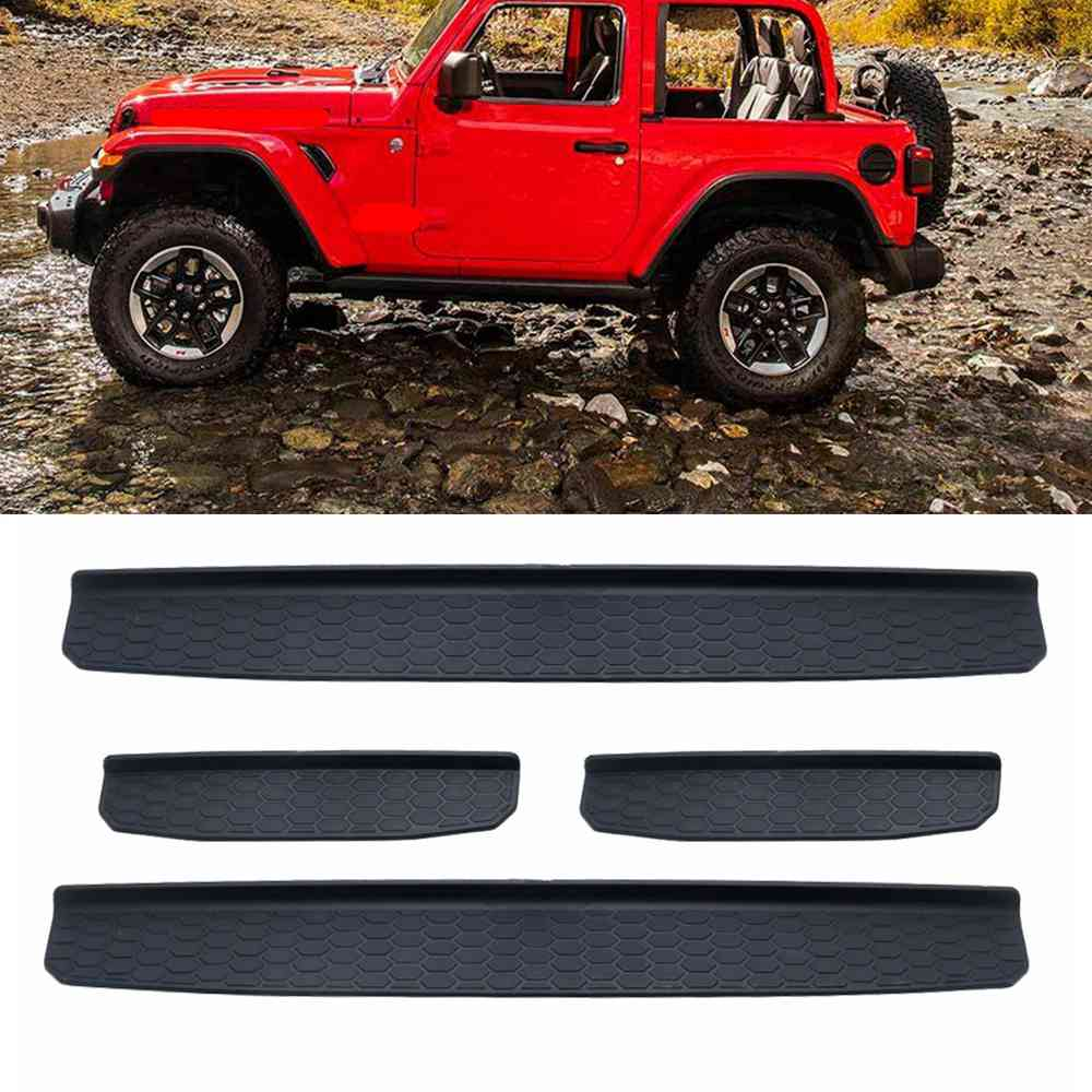 fits 2018 2019 Jeep Wrangler JL 2dr Black Door Sill Scuff Plate Guards with LOGO