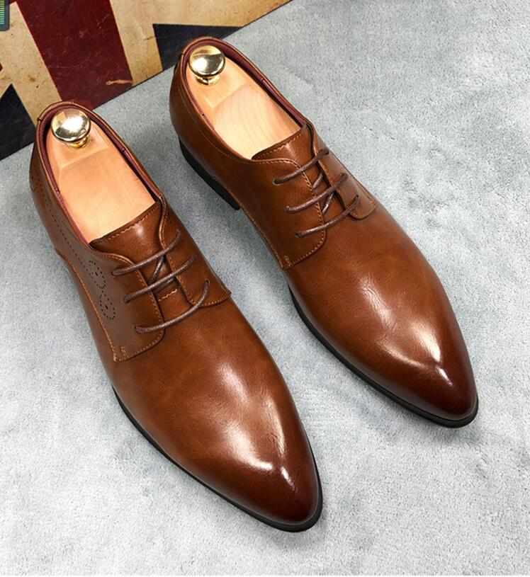 CH.KWOK Mens Oxfords Solid Black Brown Wedding Oxfords Leather Lace Up Business Dress Oxfords Rubber Soles Spring Shoes Plus 45 цены онлайн