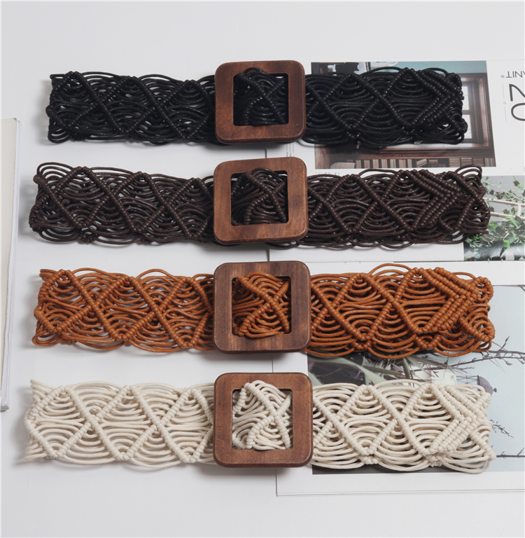 New Vintage Knitted Wax Rope Wooden Bead Waist Rope Women Smooth Buckle Belt Woman Woven Female Hand Beaded Braided Belt BZ81 in Women 39 s Belts from Apparel Accessories