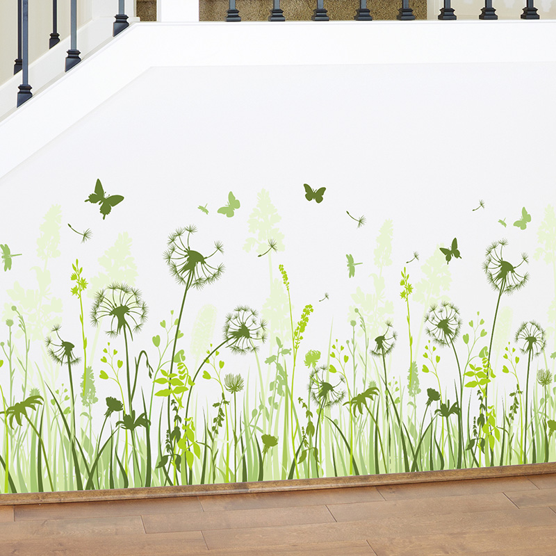 [SHIJUEHEZI] Green Dandelion Skirting Stickers Flower Wall Decals for Living Room Baseboard Sticker Decoration Muursticker-in Wall Stickers from Home & Garden on Aliexpress.com | Alibaba Group